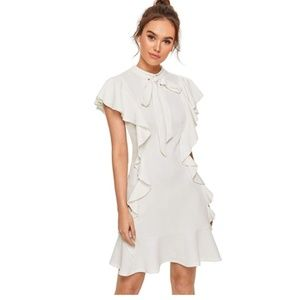 Tie Neck Short Sleeve Ruffle Hem Cocktail Party Dr